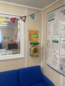 Defibrillator installation on wall