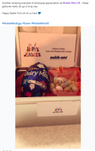 Easter Egg and Mini Eggs in a box labelled 'Happy Easter from the Mobile Mini family'